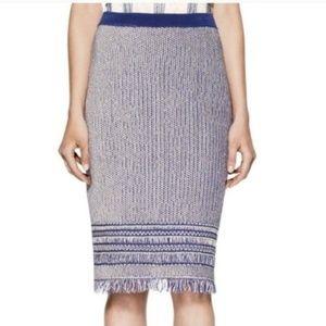 Blue + White Fringed Tweed Brielle Skirt